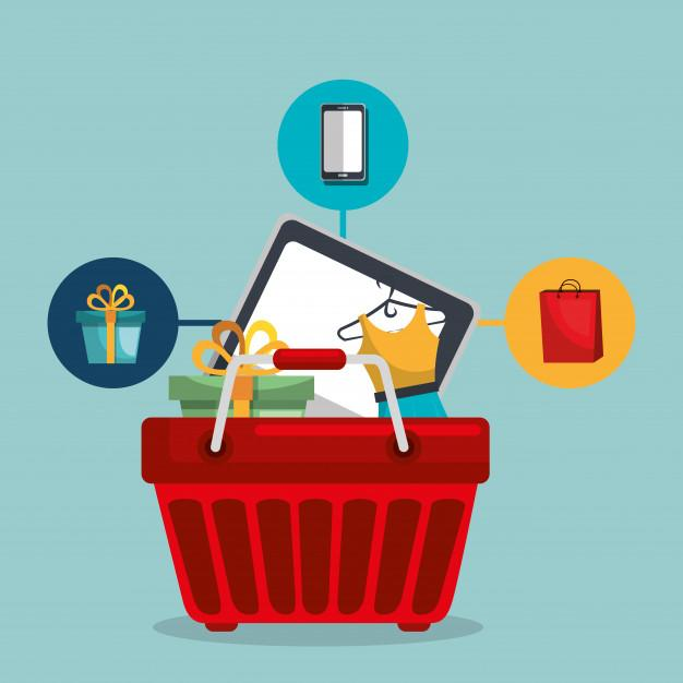 Full shopping basket representing product localisation